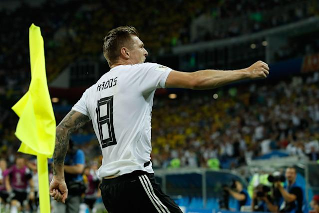 Toni Kroos celebrates his dramatic late goal for Germany to beat Sweden at the 2018 World Cup. (Getty)