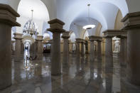 This June 30, 2021, photo shows the Crypt of the Capitol in Washington. The U.S. Capitol is still closed to most public visitors. It's the longest stretch ever that the building has been off-limits in its 200-plus year history. (AP Photo/Alex Brandon)