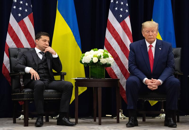 President Donald Trump and Ukrainian President Volodymyr Zelensky looks on during a meeting in New York on September 25, 2019, on the sidelines of the United Nations General Assembly. (Photo: Saul Loeb/AFP via Getty Images)