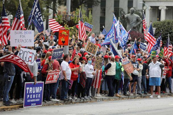PHOTO: Supporters of President Donald Trump participate on a 'Stop the Steal' protest at the Georgia State Capitol, after the 2020 presidential election was called for Democratic candidate Joe Biden, in Atlanta, Nov. 7, 2020. (Dustin Chambers/Reuters)