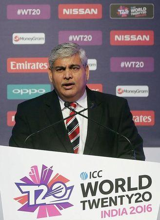 Shashank Manohar, Chairman of International Cricket Council (ICC), speaks during a ceremony to announce the fixtures of World Twenty20 in Mumbai, India, December 11, 2015. REUTERS/Shailesh Andrade/Files