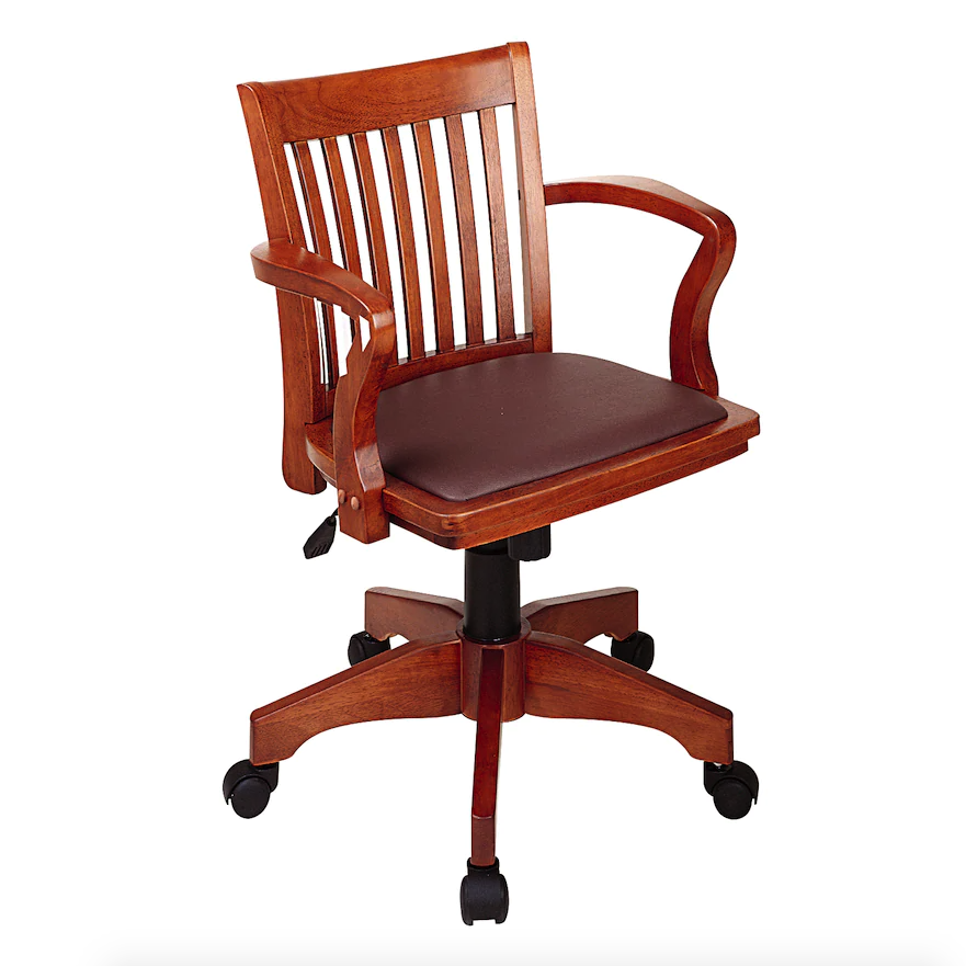 "<h2>OSP Home Furnishings Star Deluxe Banker's Chair</h2> <br><strong>Best For: Firm Support</strong><br>If your work ethic is directly impacted by your work environment, then this sturdy wooden swivel chair will whip your right into studied librarian-style shape. <br><br><strong>The Hype: </strong>4.5 out of 5 stars and 6 reviews on <a href=""https://www.kohls.com/product/prd-283120/office-star-products-star-deluxe-bankers-chair-with-vinyl-seat.jsp"" rel=""nofollow noopener"" target=""_blank"" data-ylk=""slk:Kohls"" class=""link rapid-noclick-resp"">Kohls</a><br><br><strong>Comfy Butts Say: </strong>""The chair looks great: sturdy, perfect size (did not want an overwhelming desk chair), classic.""<br><br><strong>osp home furnishings</strong> Star Deluxe Banker's Chair With Vinyl Seat, $, available at <a href=""https://go.skimresources.com/?id=30283X879131&url=https%3A%2F%2Fwww.kohls.com%2Fproduct%2Fprd-283120%2Foffice-star-products-star-deluxe-bankers-chair-with-vinyl-seat.jsp"" rel=""nofollow noopener"" target=""_blank"" data-ylk=""slk:Kohls"" class=""link rapid-noclick-resp"">Kohls</a><br><br><br><br><br><br>"