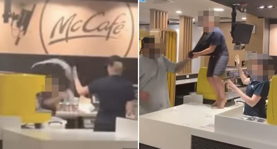 A boy throws his drink at a McCafe employee. A man grabs his t-shirt as he stands on the counter.