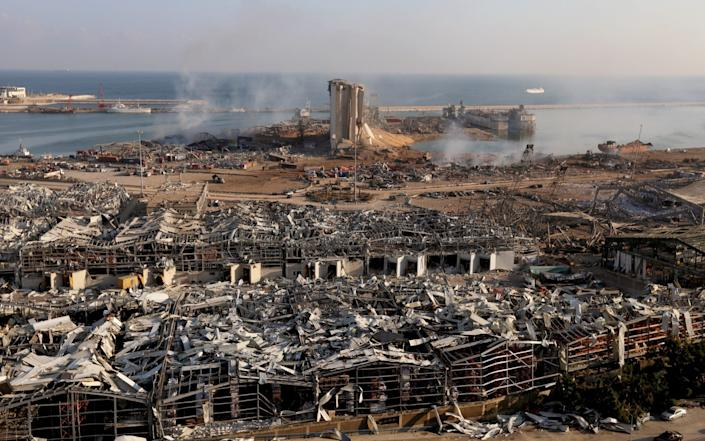A general view of Beirut's port reveals the horrifying extent of the damage - MOHAMED AZAKIR /Reuters
