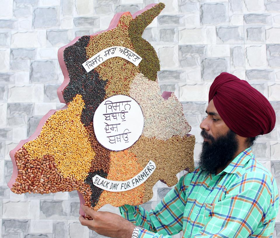 City-based artist Gurpreet Singh shows artwork dedicated to farmers who are agitating against the farm bills, on September 25, 2020 in Amritsar, India. Singh has made a map of Punjab, on which various food grains and pulses that are produced by the farmers, are displayed, besides slogans. The two bills - the Farmers (Empowerment and Protection) Agreement on Price Assurance and Farm Services Bill, 2020 and the Farming Produce Trade and Commerce (Promotion and Facilitation) Bill, 2020 - were passed by the Rajya Sabha despite uproar and strong protest by the Opposition parties in the house. (Photo by Sameer Sehgal/Hindustan Times via Getty Images)