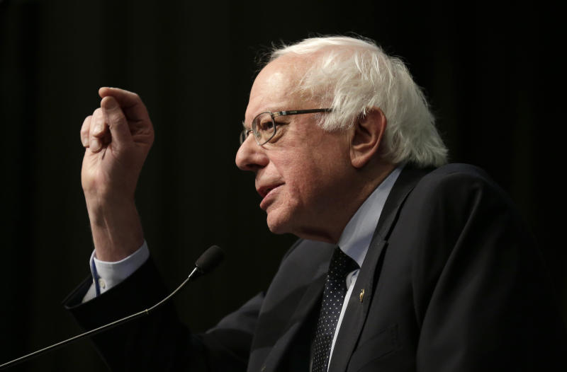 U.S. Sen. Bernie Sanders, I-Vt., a candidate for the 2020 Democratic presidential nomination, addresses during the National Action Network Convention in New York, Friday, April 5, 2019. (AP Photo/Seth Wenig)