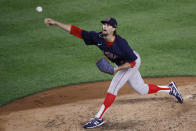 Boston Red Sox relief pitcher Chris Mazza throws during the fifth inning of the team's baseball game against the New York Yankees, Saturday, Aug. 1, 2020, in New York. (AP Photo/John Minchillo)