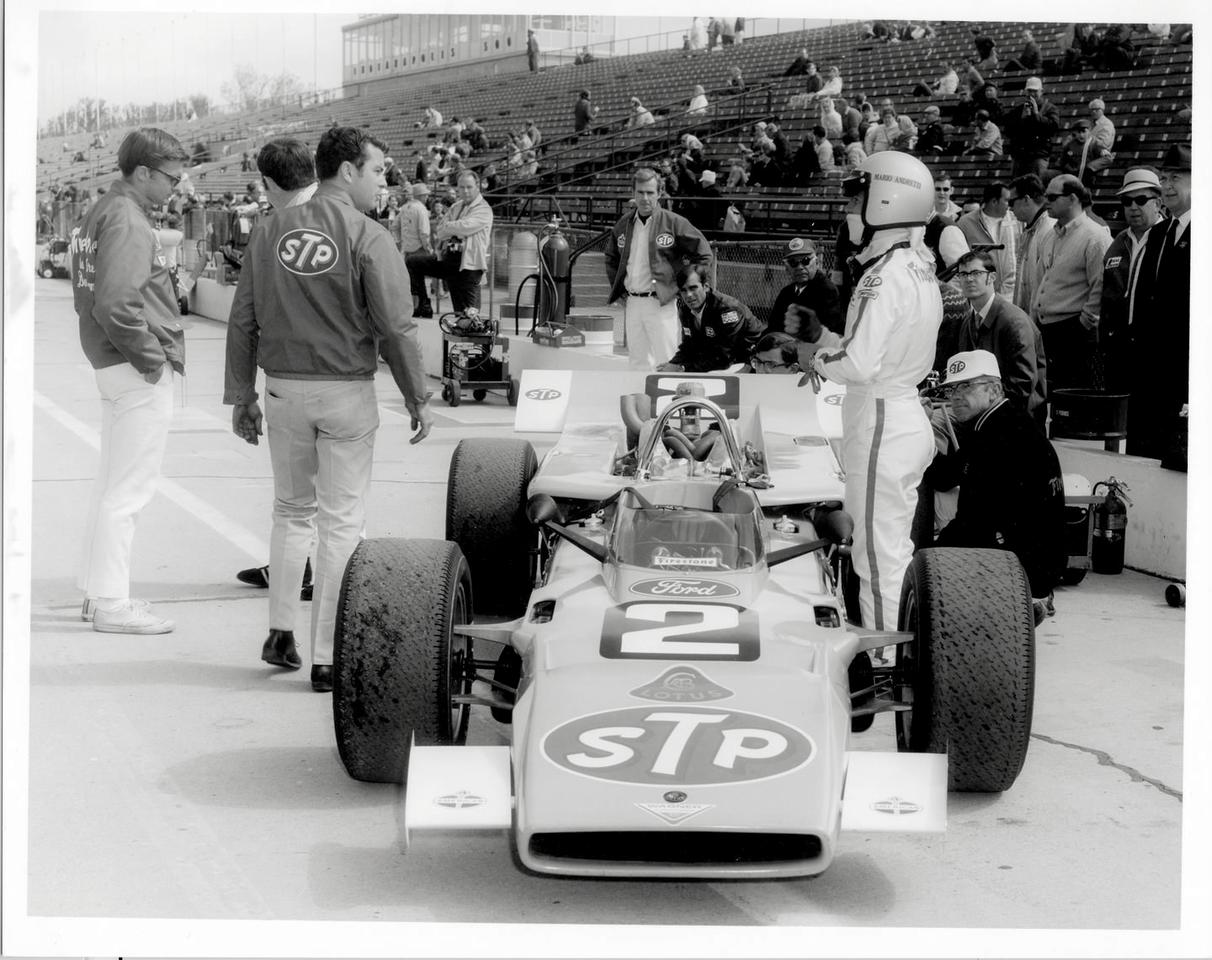 "<p>Andretti and the Ford-powered Lotus 64. It was fast, but problematic, and ultimately withdrawn before qualifying.</p><p><em>""The original plan was ambitious. Since turbine-powered cars were regulated out of contention after 1968, [Lotus founder] Colin Chapman decided to employ the four-wheel-drive feature [from his 1968 turbine car], then just install a Ford engine. We were suffering on the straights, but overall, we were quick, making up time in the corners. Ultimately, a hub sheared off, and I had a big crash. This car had some other issues-the gearbox was turned around, right behind the driver. It was undercooled and very hot. I don't know if the car would've made it 500 miles. The accident turned out to be a blessing.""</em></p>"
