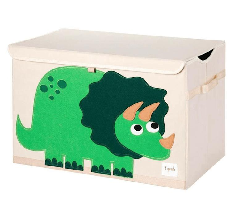 "A colourful toy box is a welcome addition to any play area and will keep the toys they already have contained. Get it at <a href=""https://www.3sprouts.ca/collections/toy-chest/products/dinosaur-toy-chest"" target=""_blank"" rel=""noopener noreferrer"">3sprouts.ca</a> for $29.99."