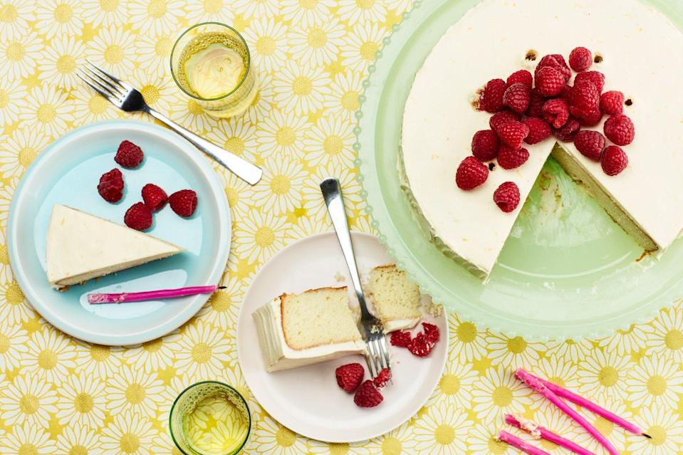 "You've seen it above as a <a href=""https://www.epicurious.com/recipes/food/views/vanilla-buttermilk-sheet-cake-with-raspberries-and-orange-cream-cheese-frosting?mbid=synd_yahoo_rss"" rel=""nofollow noopener"" target=""_blank"" data-ylk=""slk:sheet cake"" class=""link rapid-noclick-resp"">sheet cake</a> and as a <a href=""https://www.epicurious.com/recipes/food/views/double-layer-vanilla-buttermilk-cake-with-raspberries-and-orange-cream-cheese-frosting?mbid=synd_yahoo_rss"" rel=""nofollow noopener"" target=""_blank"" data-ylk=""slk:two-layer cake"" class=""link rapid-noclick-resp"">two-layer cake</a>; here's our classic vanilla cake in its simplest form. We wouldn't give you three versions of this beauty unless we really felt strongly about it. <a href=""https://www.epicurious.com/recipes/food/views/vanilla-buttermilk-cake-with-raspberries-and-orangecream-cheese-frosting?mbid=synd_yahoo_rss"" rel=""nofollow noopener"" target=""_blank"" data-ylk=""slk:See recipe."" class=""link rapid-noclick-resp"">See recipe.</a>"