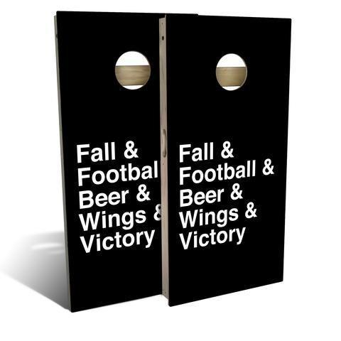 """<p>slickwoodys.com</p><p><strong>$150.00</strong></p><p><a href=""""https://www.slickwoodys.com/products/football-helvetica-list-cornhole-board-set-includes-8-bags?_pos=67&_sid=fcaeceed2&_ss=r"""" rel=""""nofollow noopener"""" target=""""_blank"""" data-ylk=""""slk:Shop Now"""" class=""""link rapid-noclick-resp"""">Shop Now</a></p><p>No sports weekend is complete without cornhole, and this set, which comes with eight beanbags, pays homage to a list of our fall favorites. (Pro tip: Aim for the front of the board, not the hole, since people tend to overshoot.) Enjoy free shipping through 5/26!</p>"""