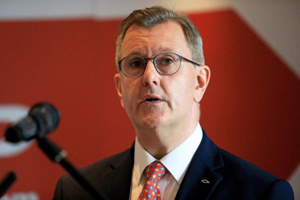 Sir Jeffrey Donaldson has held a meeting with Leo Varadkar to discuss the Northern Ireland Protocol and Covid recovery (Peter Morrison/PA) (PA Wire)