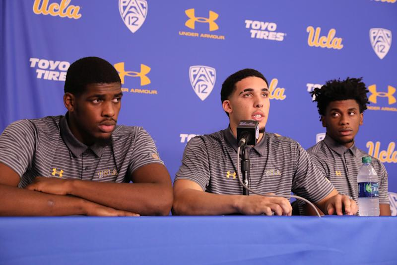 Cody Riley (left), LiAngelo Ball and Jalen Hill speak at a Nov. 15, 2017, press conference at UCLA after flying back from China. (Lucy Nicholson / Reuters)