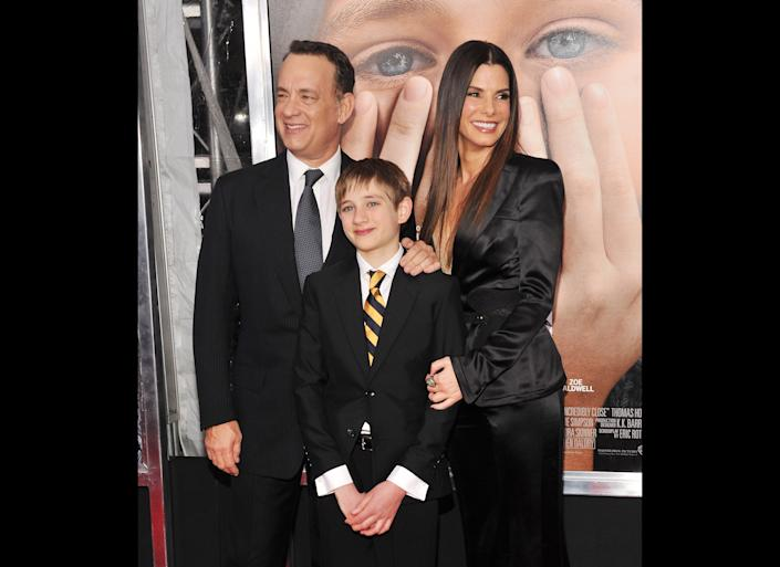 NEW YORK, NY - DECEMBER 15: Actors Tom Hanks, Thomas Horn, and Sandra Bullock attend the 'Extremely Loud & Incredibly Close' New York premiere at the Ziegfeld Theater on December 15, 2011 in New York City. (Photo by Stephen Lovekin/Getty Images)