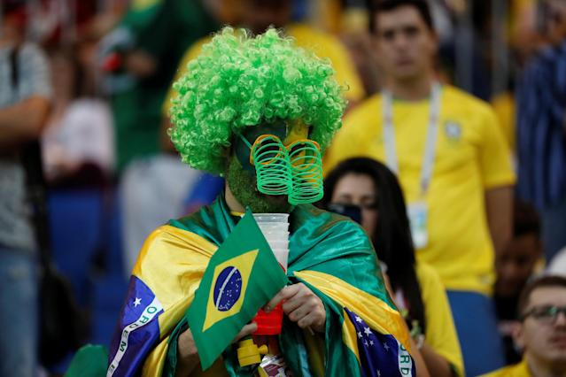 Soccer Football - World Cup - Group E - Brazil vs Switzerland - Rostov Arena, Rostov-on-Don, Russia - June 17, 2018 Brazil fan in the stadium before the match REUTERS/Damir Sagolj