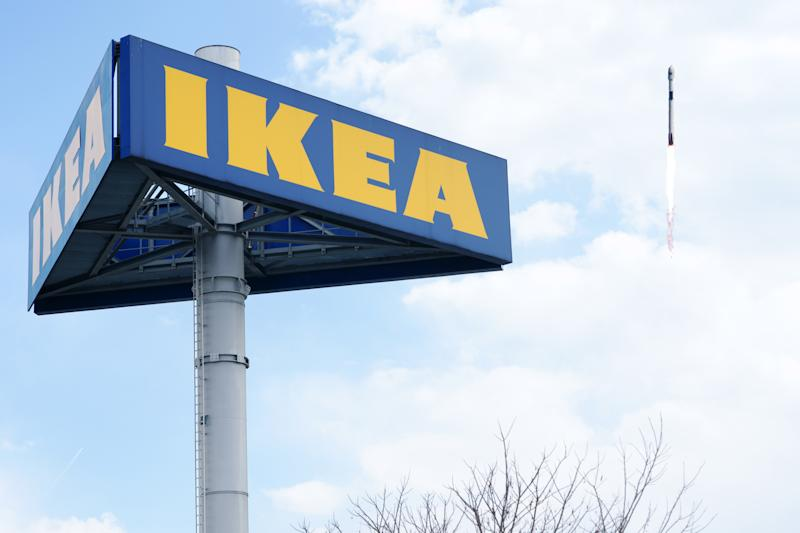 Large IKEA logo on pole