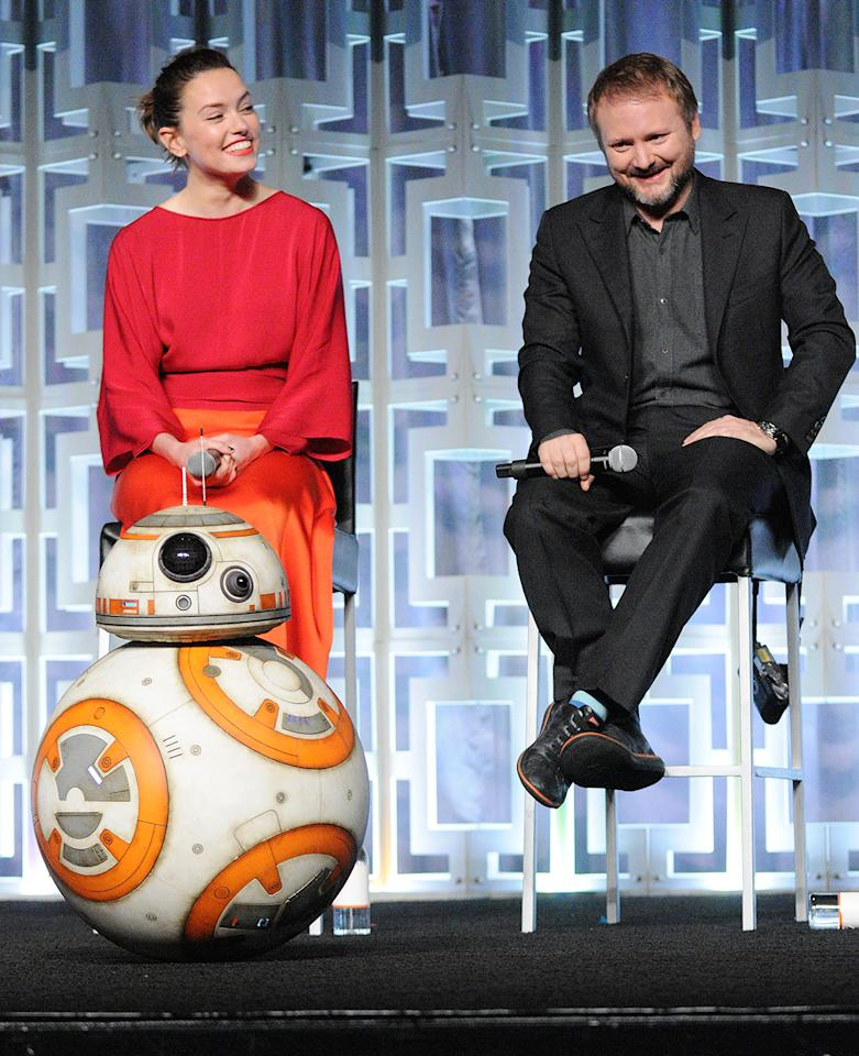 <p>BB-8, Daisy Ridley, Rian Johnson attends the 'Star Wars: The Last Jedi' panel at Star Wars Celebration Day 2 on April 14, 2017, in Orlando, Fla. (Photo: Gerardo Mora/Getty Images) </p>