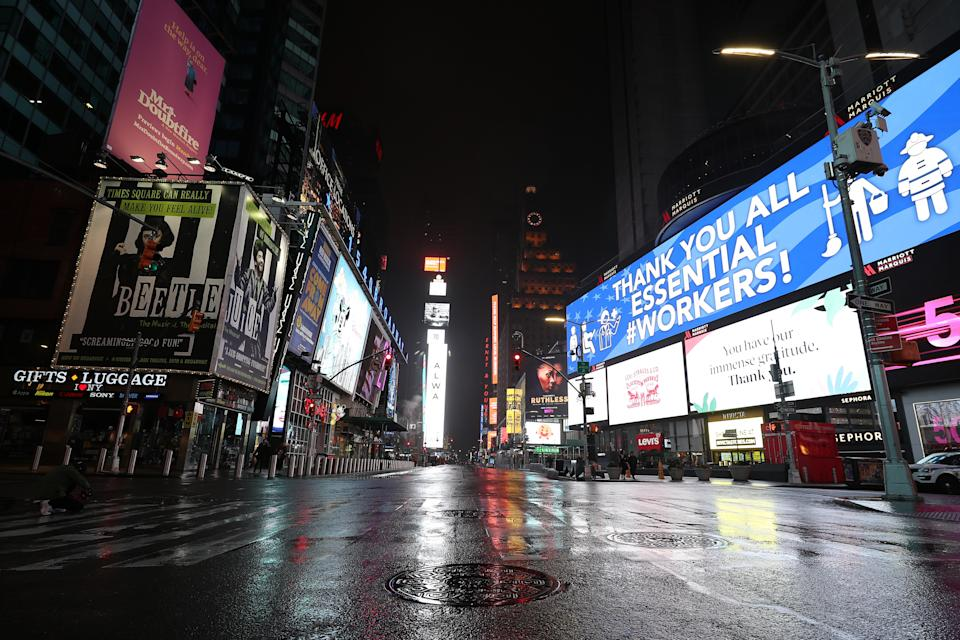 New York's famous Times Square has been empty due to the coronavirus pandemic. Source: Getty Images