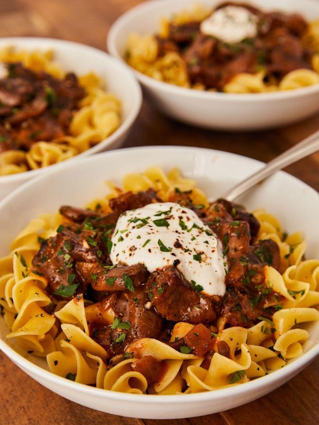 """<p>Super rich flavors perfect for a chilly night.</p><p>Get the recipe from <a href=""""https://www.delish.com/cooking/recipe-ideas/a23572583/beef-stroganoff-recipe/"""" rel=""""nofollow noopener"""" target=""""_blank"""" data-ylk=""""slk:Delish"""" class=""""link rapid-noclick-resp"""">Delish</a>. </p>"""