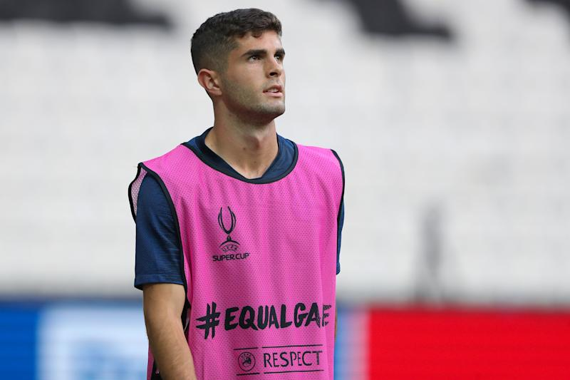 ISTANBUL, TURKEY - AUGUST 13: Christian Pulisic of Chelsea during the Chelsea training session ahead of the UEFA Super Cup Final between Liverpool and Chelsea at the Vodafone Arena on August 13, 2019 in Istanbul, Turkey. (Photo by Matthew Ashton - AMA/Getty Images)