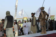 Taliban commando fighters and officials attend a gathering to celebrate their victory in Lashkar Gah, Helmand province, southwestern, Afghanistan, Friday, Aug. 27, 2021. (AP Photo/Abdul Khaliq)