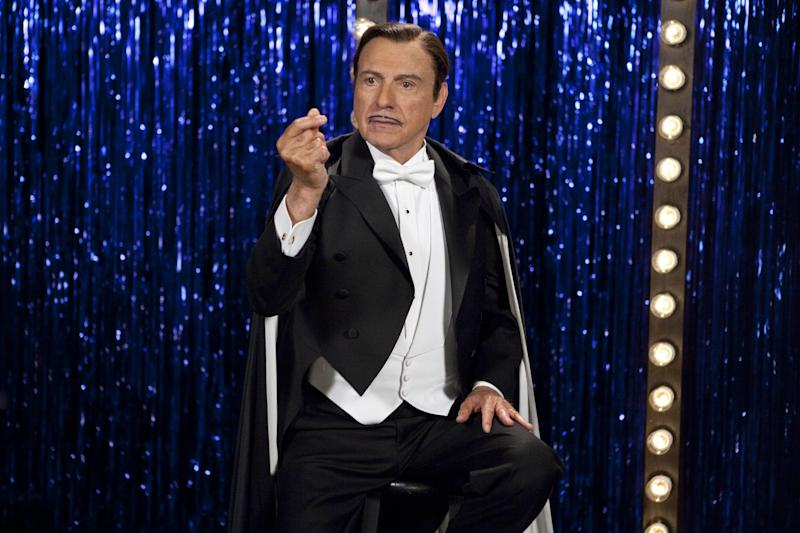 """FILE - This publicity film image released by Warner Bros. Pictures shows Alan Arkin as Rance Holloway in a scene from, """"The Incredible Burt Wonderstone."""" Arkin is Steve Carell's idol, in reality and in their new movie. The 78-year-old Oscar winner plays the master magician who helps Carell's character find his life's calling in """"The Incredible Burt Wonderstone."""" (AP Photo/Warner Bros. Pictures, Ben Glass, File)"""