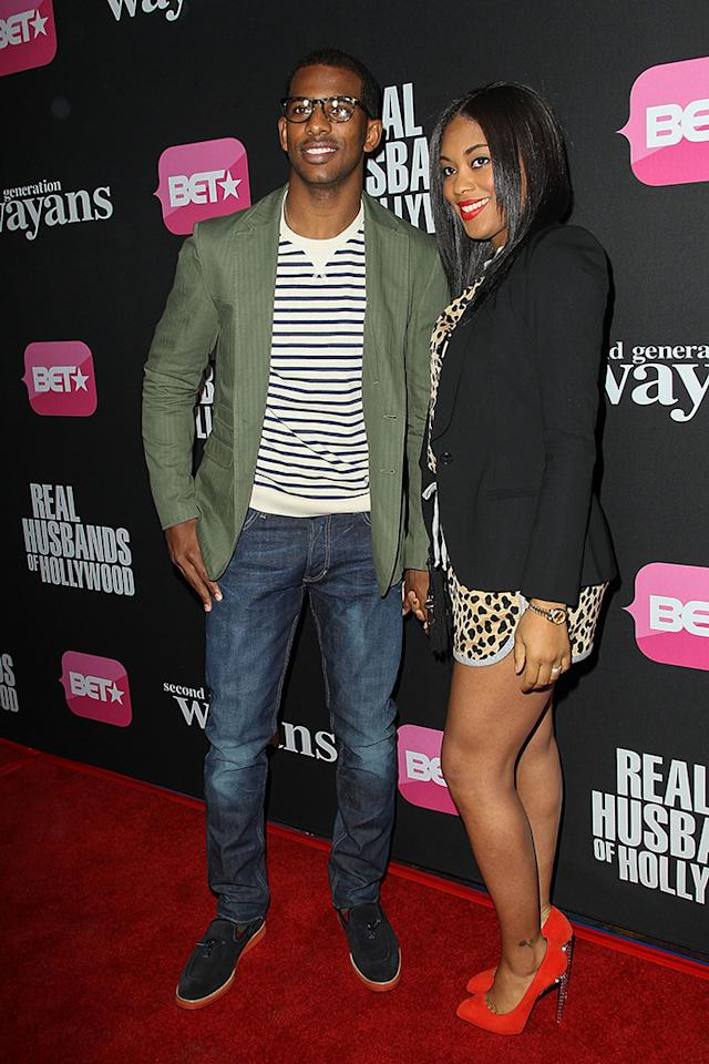 "Chris Paul and wife Jada Crawley arrive at the screenings of BET Networks' ""Real Husbands of Hollywood"" and ""Second Generation Wayans"" held at the Regal Cinemas L.A. Live on January 8, 2013 in Los Angeles, California."