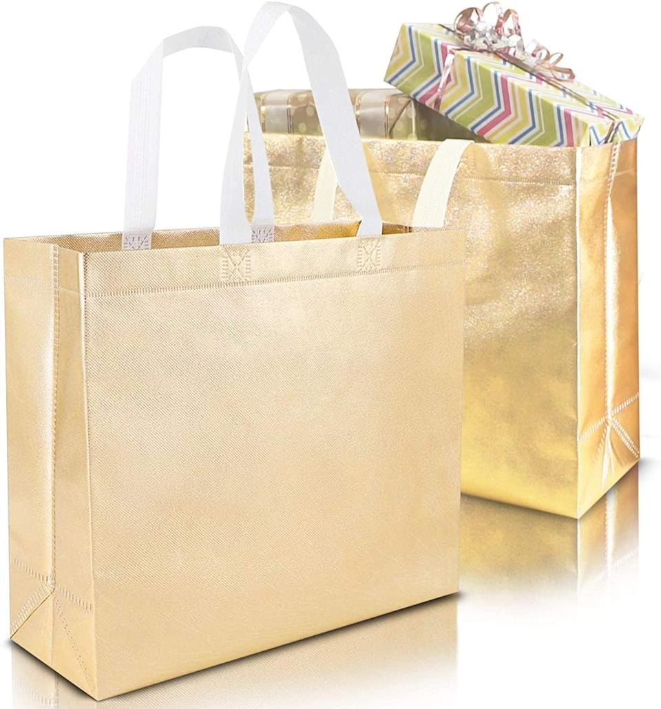 <p>These glittery gold <span>Stylish Reusable Grocery Bags</span> ($17) will become your go-to for carrying gifts, groceries, and more.</p>