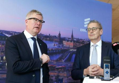 Sweden's mobile telecom gear maker Ericsson CEO Borje Ekholm (L) and proposed new Ericsson's chairman Ronnie Leten attend news conference in Stockholm, Sweden March 28, 2018. REUTERS/Olof Swahnberg