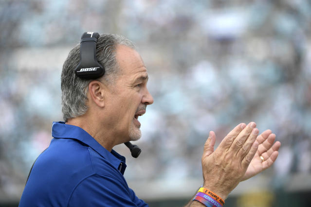 FILE - In this Dec. 3, 2017, file photo, then-Indianapolis Colts coach Chuck Pagano calls out encouragement during the first half of the team's NFL football game against the Jacksonville Jaguars in Jacksonville, Fla. The Bears hired former Colts coach Pagano to replace Vic Fangio as defensive coordinator Friday, Jan. 11, 2019, hoping he can help them build on what they accomplished this season. Pagano inherits one of the NFLs stingiest defenses after Fangio left to take the Denver Broncos head coaching job. (AP Photo/Phelan M. Ebenhack, File)