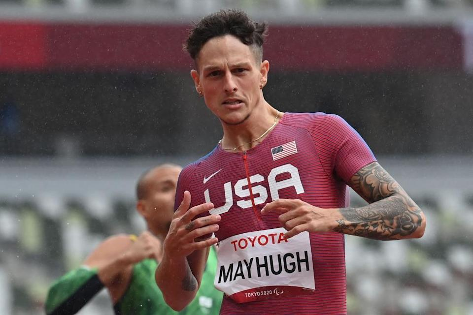 Nick Mayhugh set a new world record in the men's T37 200m.