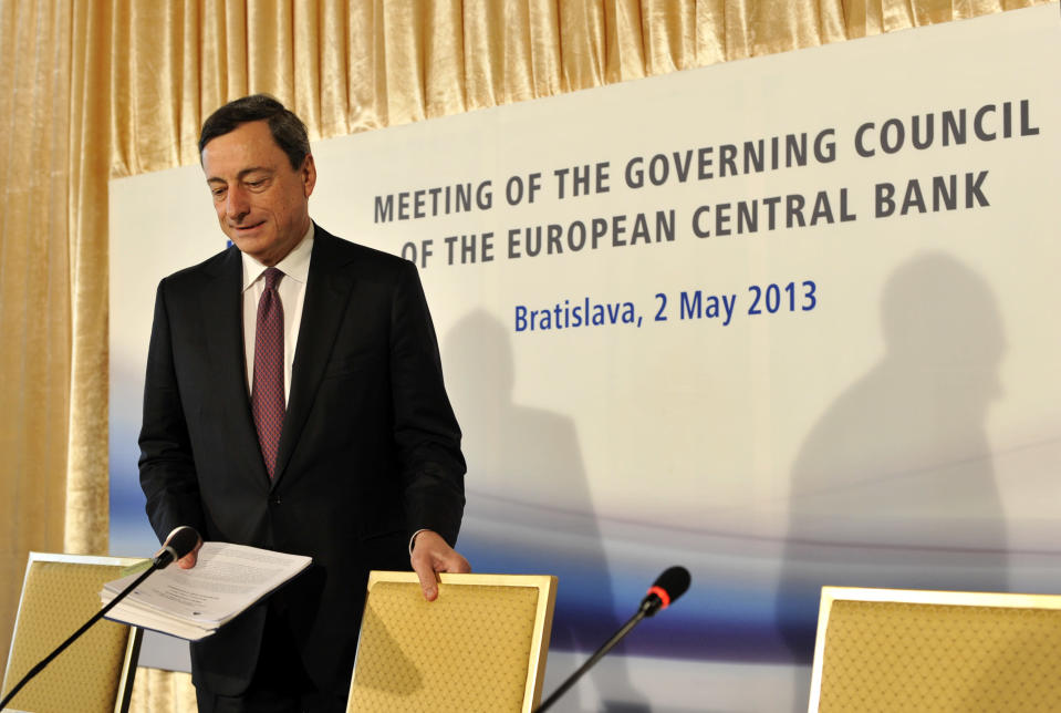 European Central Bank's President Mario Draghi arrives at the press conference during the Meeting of the Governing Council of the Eropean Central Bank in Bratislava, Slovakia, Thursday, May 2, 2013. (AP Photo/CTK, Jan Koller) SLOVAKIA OUT