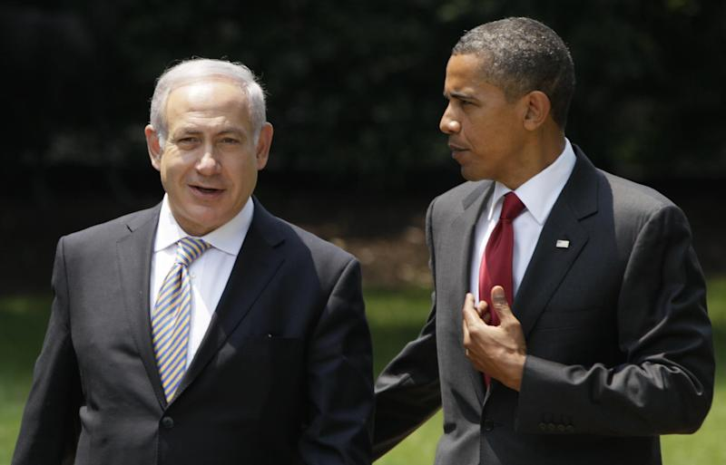 FILE - In this July 6, 2010, file photo, President Barack Obama, right, talks with Israeli Prime Minister Benjamin Netanyahu as they walk to Netanyahu's car outside the Oval Office of the White House in Washington. Obama heads into his second term weighed down not only by an American government snarled in partisan gridlock but also by a similarly unproductive relationship with the leader of Israel, the bedrock U.S. ally in the tumultuous Middle East. And the puzzle that is the U.S.-Israeli relationship under Obama and Netanyahu is only growing more complex. (AP Photo/Carolyn Kaster, File)