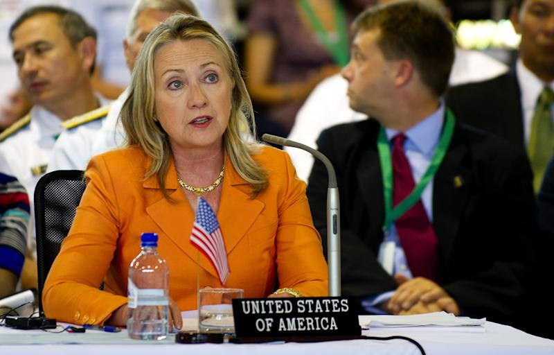 U.S. Secretary of State Hillary Clinton delivers remarks during the Pacific Island Forum Post-Forum Dialogue in Rarotonga, Cook Islands, Friday, Aug. 31, 2012. (AP Photo/Jim Watson, Pool)