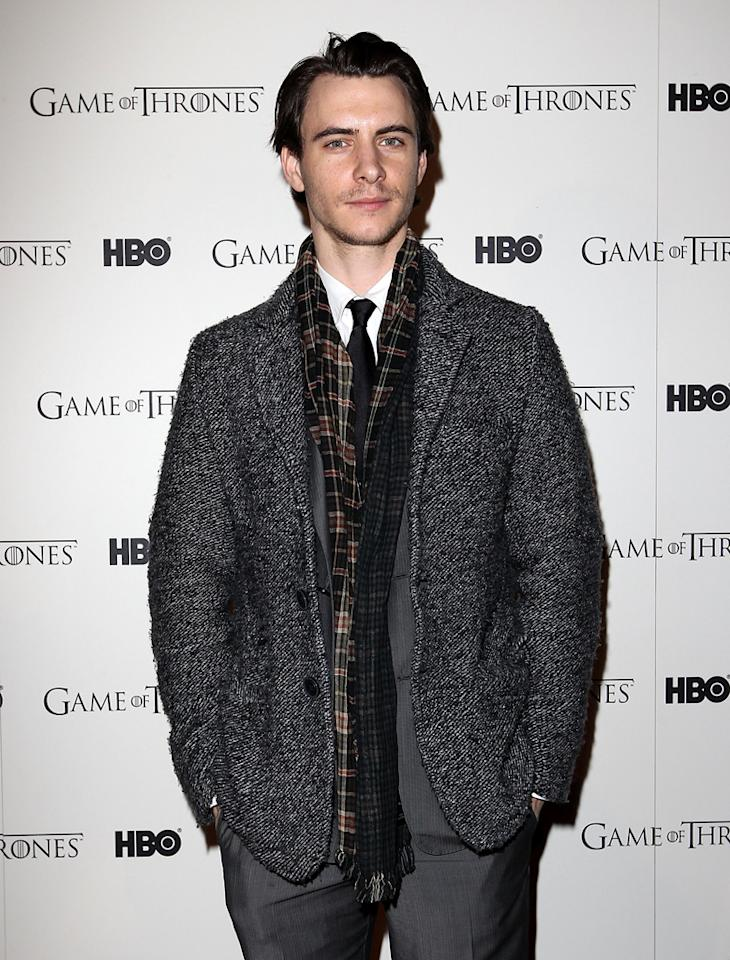"<span>Harry Lloyd</span> attends the ""<span style=""text-decoration:underline;""></span><a target=""_blank"" href=""http://tv.yahoo.com/game-of-thrones/show/41208"">Game of Thrones</a>"" Season 1 DVD premiere at Old Vic Tunnels on February 29, 2012 in London, England."