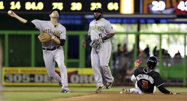 Pittsburgh Pirates shortstop Jordy Mercer, left, throws to firs for the out after fielding a ground ball by Miami Marlins' Donovan Solano in the fourth inning of a baseball game in Miami, Saturday, June 14, 2014. Josh Harrison (5) backs up the play. (AP Photo/Alan Diaz)