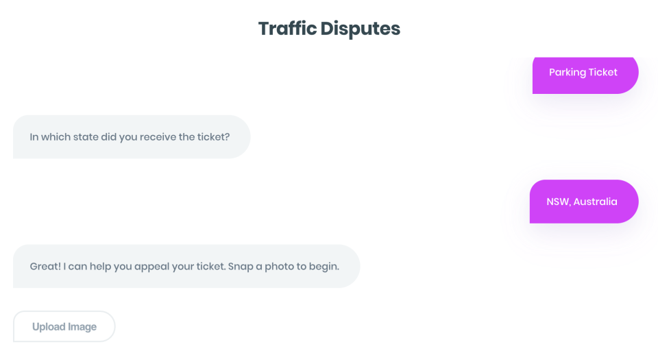 The parking chat bot is now available for Australians. Source: DoNotPay