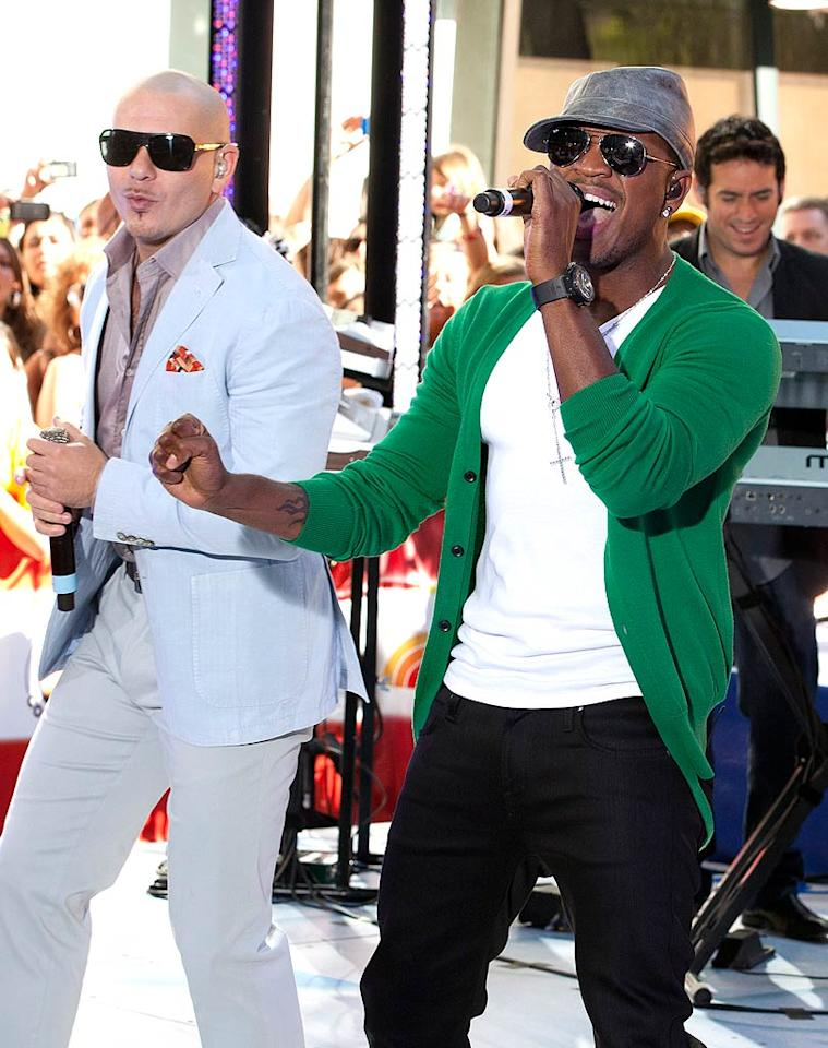 "Over in Rockefeller Plaza, Pitbull took the stage on ""Today"" and performed his current No. 1 Billboard Hot 100 hit, ""Give Me Everything"" with collaborator Ne-Yo. Janet Mayer/<a href=""http://www.splashnewsonline.com/"" target=""new"">Splash News</a> - July 23, 2011"