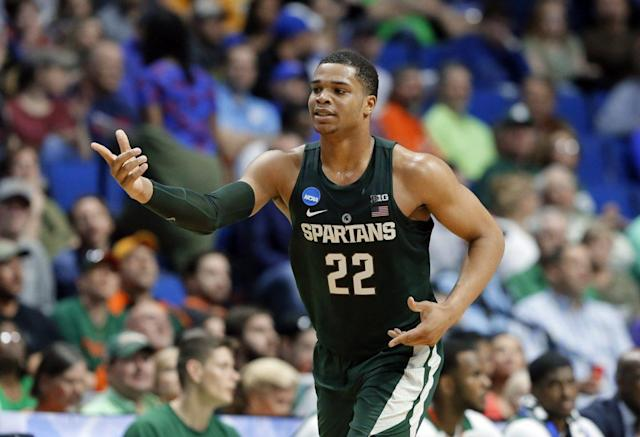 Miles Bridges averaged 16.9 points, 8.3 rebounds and 2.1 assists as a freshman for the Spartans. (AP)