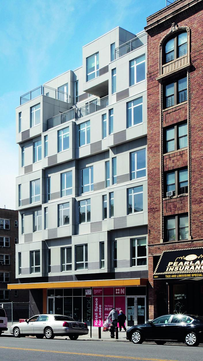Architecture firm Gluck+ devised this building—the first prefab, multiunit residential structure in New York—as a solution to the lack of moderate-income housing in the city. The seven-story building was manufactured in Pennsylvania and on-site installation was completed in just four weeks.