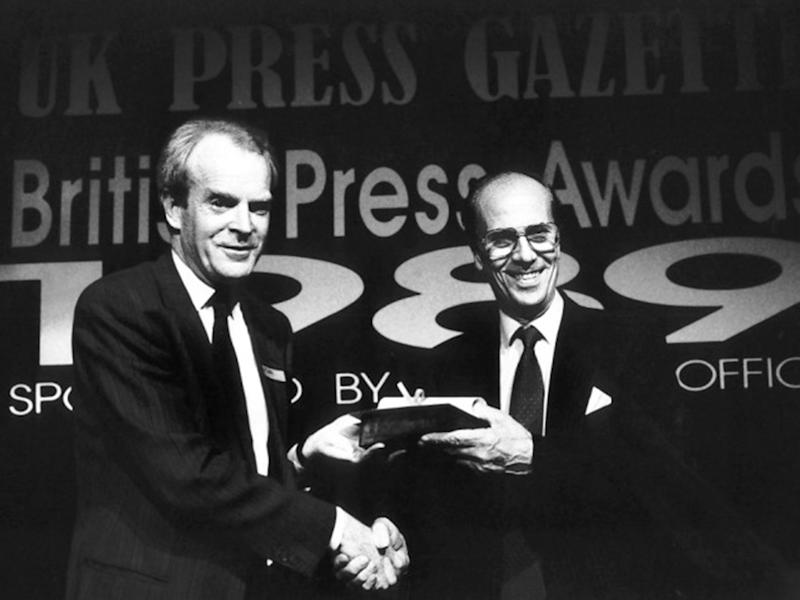 Rupert Cornwell collected the David Holden Award for foreign reporting at the 1989 British Press Awards