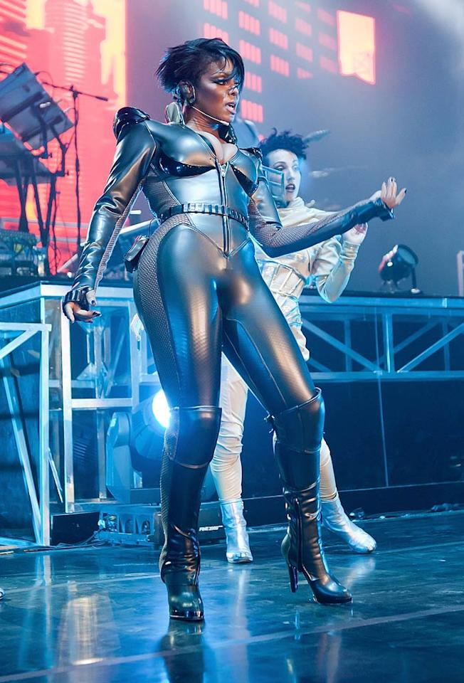 """Janet Jackson channeled her inner Lady Gaga while performing in this futuristic (and unflattering) fashion faux pas at the Jakarta Convention Centre in Jakarta, Indonesia. Is it just us, or does Janet seem to be trying just a little too hard these days? Leonard Adam/<a href=""""http://www.wireimage.com"""" target=""""new"""">WireImage.com</a> - February 9, 2011"""