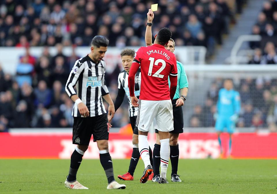 Chris Smalling was booked for diving as he conceded the free kick that led to Newcastle's winner against Manchester United.