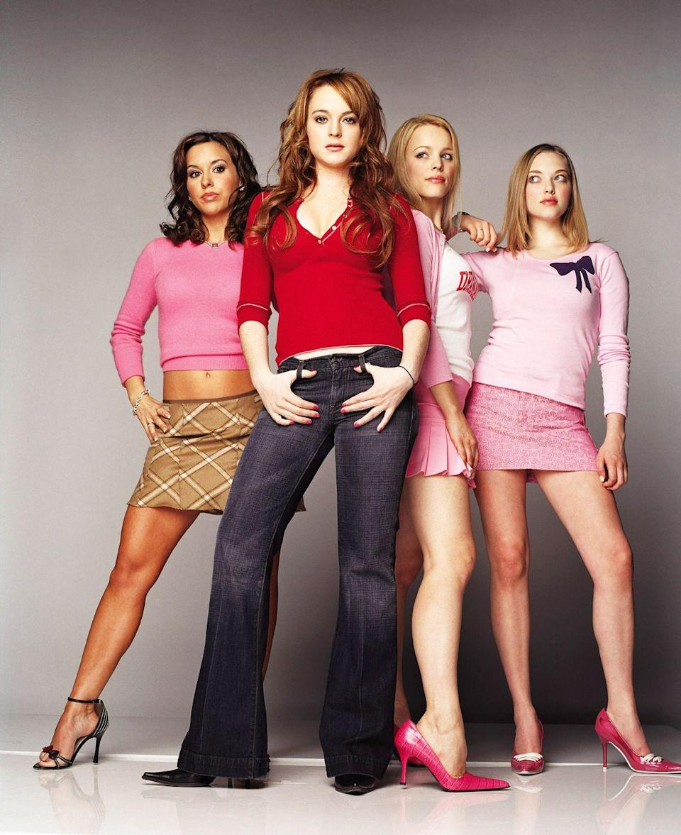 <p>Bootcut jeans + pointy toe shoes. Cady Heron is so 2004 in this <em>Mean Girls</em> poster.</p>