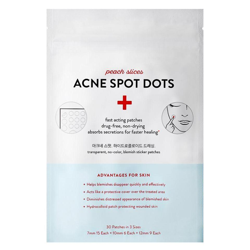 """<p>peachandlily.com</p><p><strong>$4.49</strong></p><p><a href=""""https://www.peachandlily.com/products/acne-patches?variant=32869235337¤cy=USD&gclid=Cj0KCQjwgJv4BRCrARIsAB17JI4pGwydmkslwZrOKJ-erOgkOLear1rPiplBOVplv-HSf87Mfxb-gmkaAkEFEALw_wcB"""" rel=""""nofollow noopener"""" target=""""_blank"""" data-ylk=""""slk:Shop Now"""" class=""""link rapid-noclick-resp"""">Shop Now</a></p><p>This drugstore pick has sold over 30 million patches and for good reason: The K-Beauty dots are drug-free and non-drying, and work to absorb gunk in blemishes for noticeably smaller pimples. They also come in three different sizes to tackle areas big and small. </p>"""