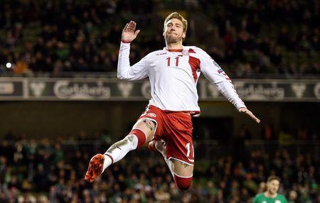 FILE PHOTO: Soccer Football - 2018 World Cup Qualifications - Europe - Republic of Ireland vs Denmark - Aviva Stadium, Dublin, Republic of Ireland - November 14, 2017 Denmark's Nicklas Bendtner celebrates scoring their fifth goal REUTERS/Clodagh Kilcoyne