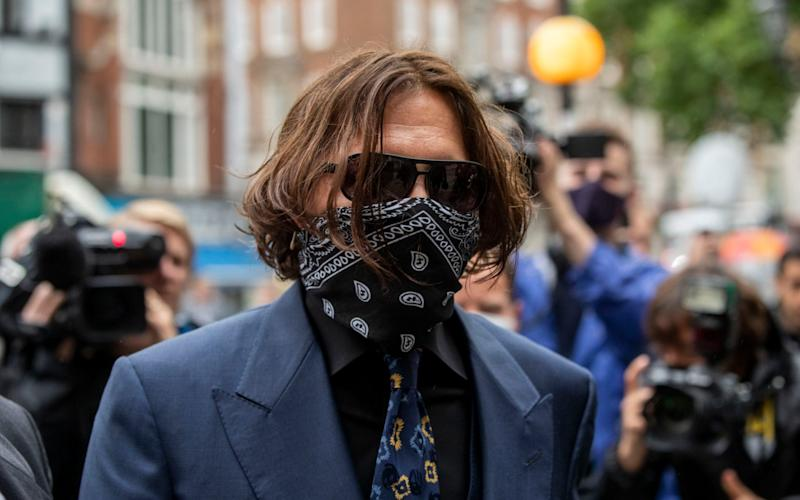 Johnny Depp arriving at the High Court in London on July 7, 2020 - Heathcliff O'Malley