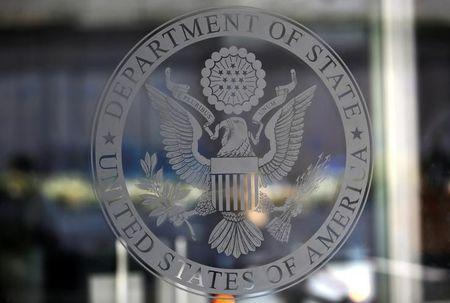 The seal of the United States Department of State is seen in Washington