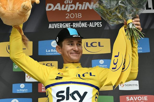 Poland's Michal Kwiatkowski of Team Sky won the Criterium du Dauphine opening day prologue on Sunday (AFP Photo/Philippe LOPEZ)