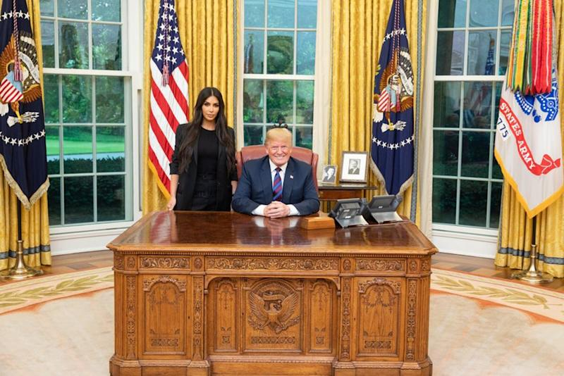 From left: Kim Kardashian with President Donald Trump in the Oval Office in May | Donald Trump/Twitter